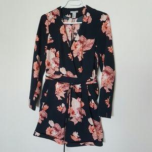 H&M Floral Print Long Sleeve Romper